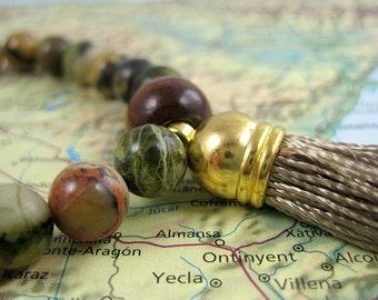 Nitya Siddha Infinity Mala Bracelet in Earth Jasper Gemstones with Tassel