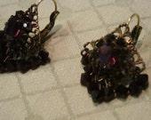 Vintage Deep Purple Crystal Earrings