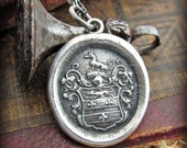 Greyhound Jewelry Wax Seal Necklace - Courage and Loyalty - E2290