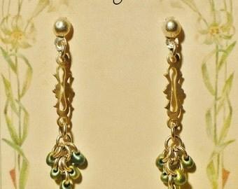 long silver filigree glass drop bead cluster vintage style tassel earrings
