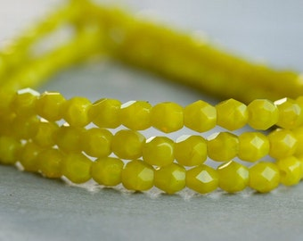 Czech Glass Bead 4mm Chartreuse Faceted Round : 50 pc