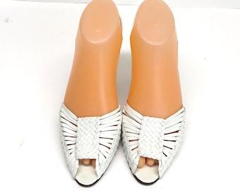 Sz 8 Strappy White Woven Leather Shoes Sling Back Open Toe Sandal UK 5.5 Euro 38