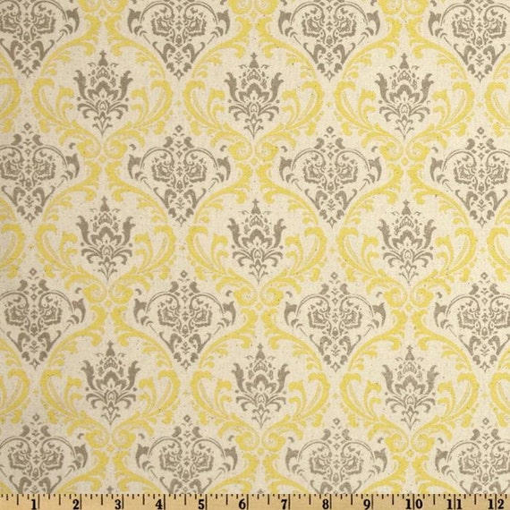 madison summerland fabric yellow damask fabric yellow gray. Black Bedroom Furniture Sets. Home Design Ideas