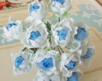 Miniature Roses Bouquet / Vintage Millinery / Cotton Linen Fabric / Blue