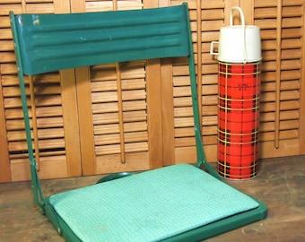 Free Shipping Vintage Teal Blue Green Metal folding Stadium Bleacher seat with vinyl Retro Football