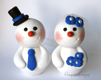 Custom Snowman Wedding Cake Topper
