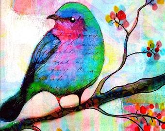 Bird Print Songbird  flowers  tree leaves Bird art bird in tree
