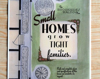Small Homes and Family Quote retro house plan (8.5 x 11 Print)
