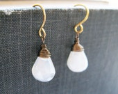 White Stone Earrings - available in gold, silver and bronze, bridesmaid drop earrings, chalcedony jewelry