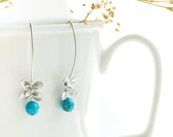 Silver Turquoise Earrings - December birthstone, small flower blue drop, hawaiian bridesmaid floral, tropical bridal jewelry - Clematis