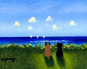 Black Fawn PUG Dog outsider folk art print by Todd Young At The Beach