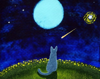 Russian Blue Cat Moon Stars ACEO Folk Art PRINT of Todd Young painting