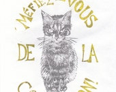 Accept no substitutes for Minouette Linocut on in Yellow and Silver - Typography - French Slogan with Cat Lino Block Print