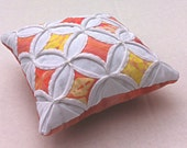 25% Off Cathedral Window Pincushion Pink Orange Yellow Batik 5 Inches