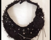 Tattered Chiffon Black Beaded Collar