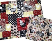 Rooster Placemats and Napkins, Farm House Décor, Set of 6, Chicken Placemats and Napkins