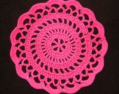 "New Handmade Crocheted ""Elegance"" Coaster/Doily in Hot Pink"
