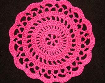 "New Handmade Crocheted ""Elegance"" Coaster/Doily in Hot Pink"