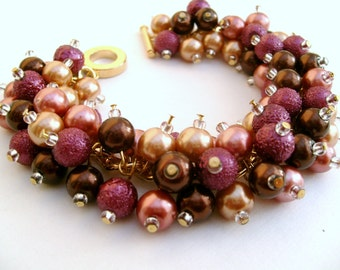 Bridal Jewelry, Wedding, Pearl Bridesmaid Bracelet, Winter Wedding, Gold, Cluster Bracelet, Pearl Bracelet, Mulled Wine, Fall Colours, Brown