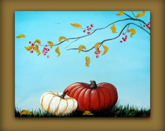 Autumn Fall Pumpkin Painting with a Blue Sky and Red Berries...Abstract Contemporary Modern Bird Art Painting by HD Greer