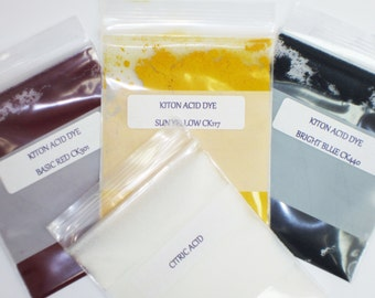 Rainbow Dye Kit for Natural Protein Fibers, Primary Colors, Professional Acid Dye