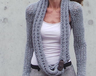 Silver light Grey shrug grey sweater Gray winter long sleeved warm hand knitted shrug