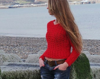 Red Sweater pullover, women's v neck red sweater