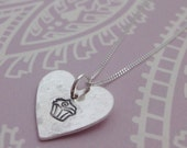 Silver Heart Necklace With Cupcake Print