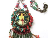 Bead Embroidered Cabochon Necklace Mucha Alphonse with Coral and Turquoise