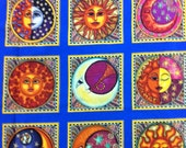 Celestial Sun and Moon Cotton Fabric