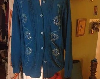 Vintage 60's or 70's shabby chic dark teal sweater. size M