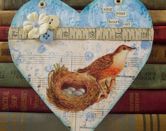 Bird Nest Collage Art Hanger - Shabby Home Decor - Bird Collage Assemblage - Bird Wall Hanging - Altered Art Heart Hanger - Cottage Chic