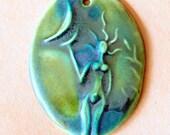 Spirit Goddess Bead - Ceramic Oval Goddess Pendant - Blessingway Bead - Venus holding the Moon -  Goddess Focal