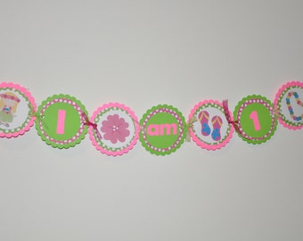 Luau High Chair Banner. Banner. High Chair Banner. I am 1. First Birthday. Tropical. Beach. Tiki. Summer. Choose your own images