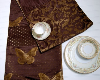 table runner chocolate brown and gold runner formal dining room