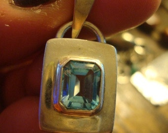 Enchanted Mermaid Emerald cut large Blue Topaz in sterling large pendant Goddess Water Lovers