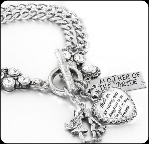 Design Your Own Custom Bangle Charm Bracelet Pick Your Charms: Personalized Mother Of The Bride Bracelet By BlackberryDesigns