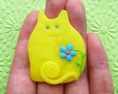 Polymer Clay Translucent Yellow Happy Cat with blue flower Brooch or Magnet