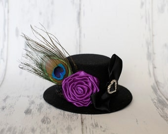 Royal Events - Black Mini Top Hat with Handmade Purple Rosette and Peacock Feather and Bow