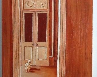 Dog In Sepia Original Oil Painting