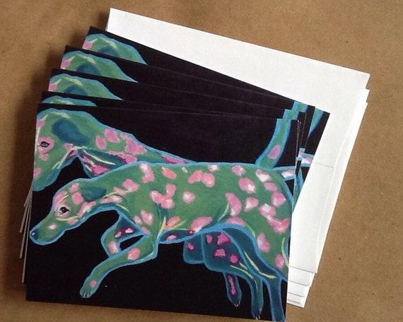 Pink and Green Dalmatian Notecard Set