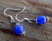 Deep Blue Faceted Blue Sapphire Earrings on Sterling Ear Hooks