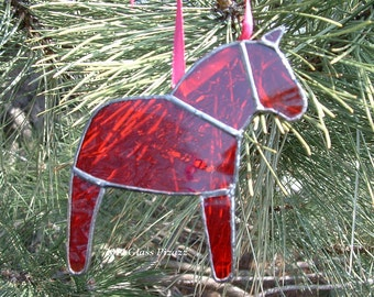 Clear Red Dala Horse Ornament, Swedish Christmas Ornament, Tiffany Style Stained Glass Horse, Swedish Custom