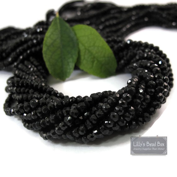 Black Spinel Rondelles, 6.5 Inch Strand, Faceted Gemstone Beads, Necklace Rondelles, Black Diamond Substitute, Jewelry Supplies  (R-Sp5)