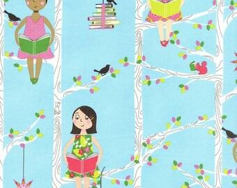 "Michael Miller Fabrics, ""Quiet Time"",  Reading in a tree in Aqua, yard"