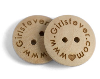 100 pcs Personalized button plain wooden button 20mm with your own message or shop name