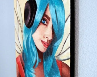 Urban Fairy Art Music Fairy Faerie Art LE Giclee Canvas Art Print Blue Haired Fairy 10x13
