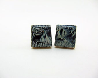 Wedding Mens Cufflinks Grooms Corner - Vintage Pacific Ocean Floor Map 1969 vintage Scrabble tiles - blue white