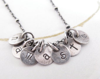 namaste necklace tiny sterling silver initial discs personalized