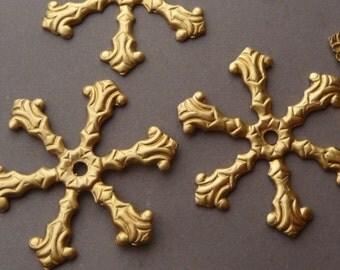 6 Bead Caps - Raw Brass Flower - Riveting - Spokes